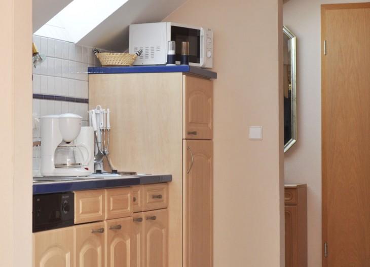 Küche in der Suite im Landhaus Cornelia in Bad Birnbach.